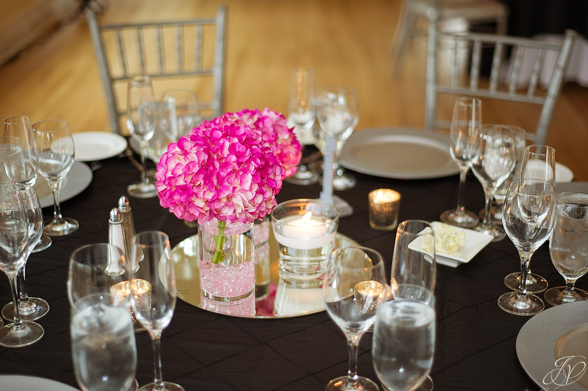 cute wedding reception details, pink reception details