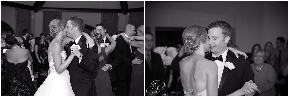 bride and groom first dance at reception saratoga national black and white