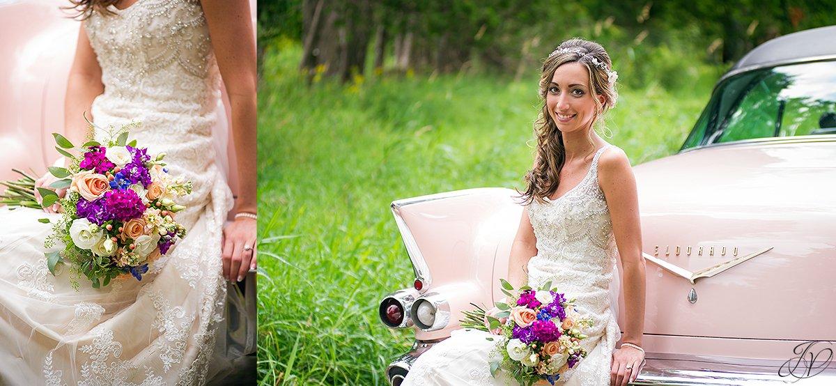 classic bridal portrait vintage car lake placid