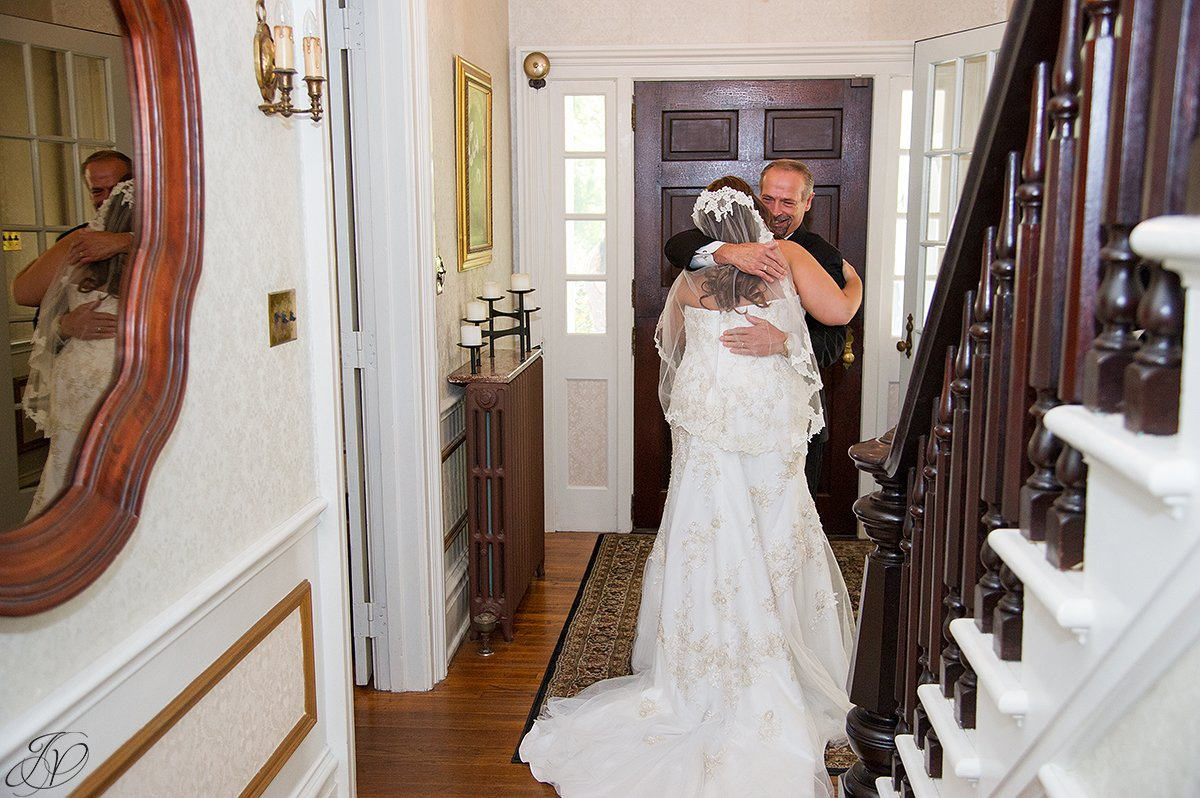 beautiful first look moment with bride and father