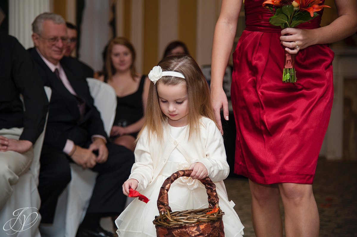 flower girl photo, The Stockade Inn, Ceremony detail photo,  Schenectady Wedding Photographer, wedding details