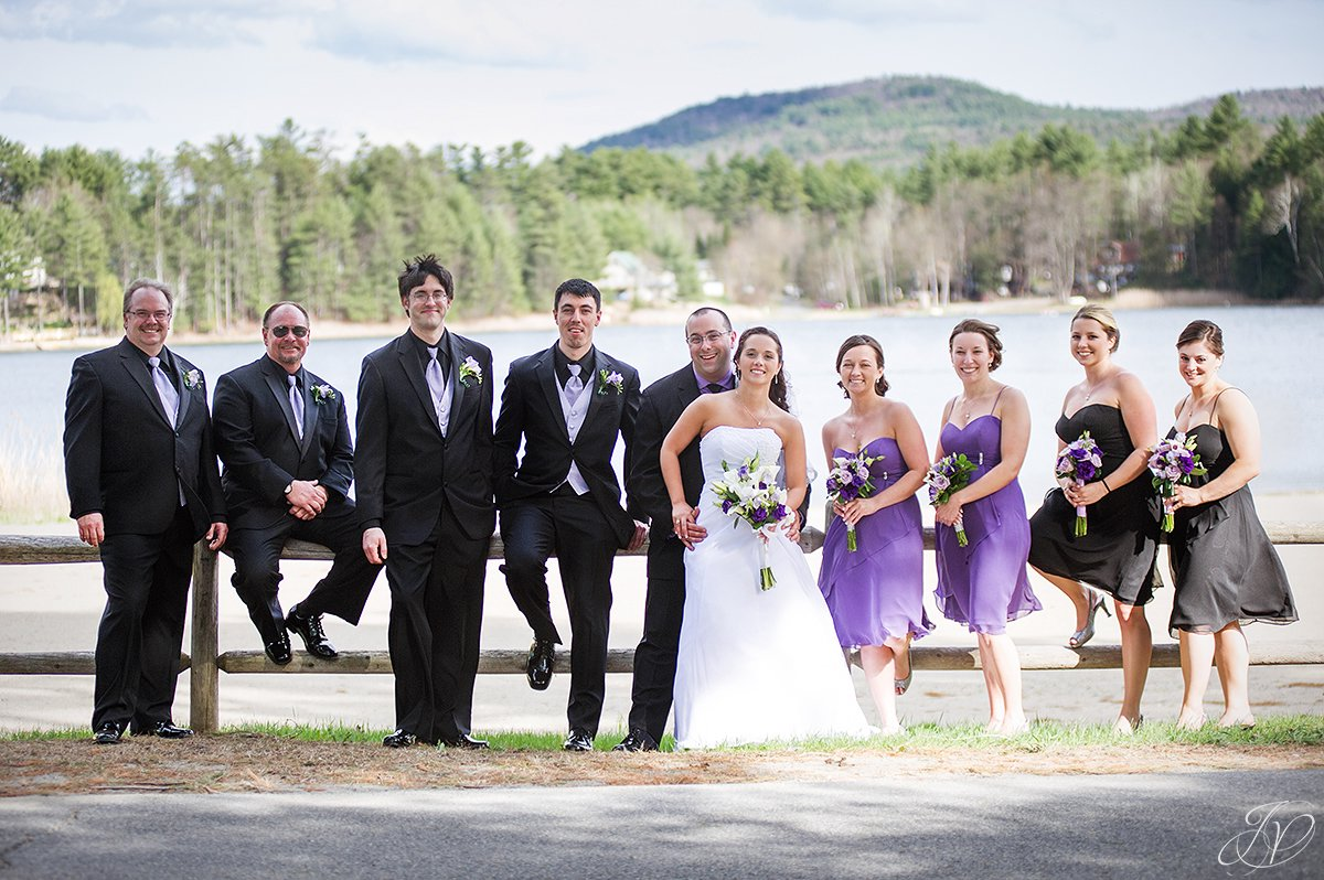 bridal party photo with lake view