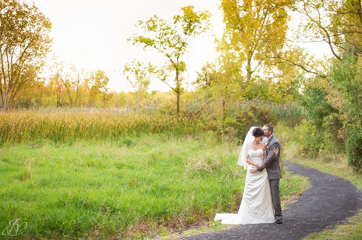 romantic fall bride and groom image