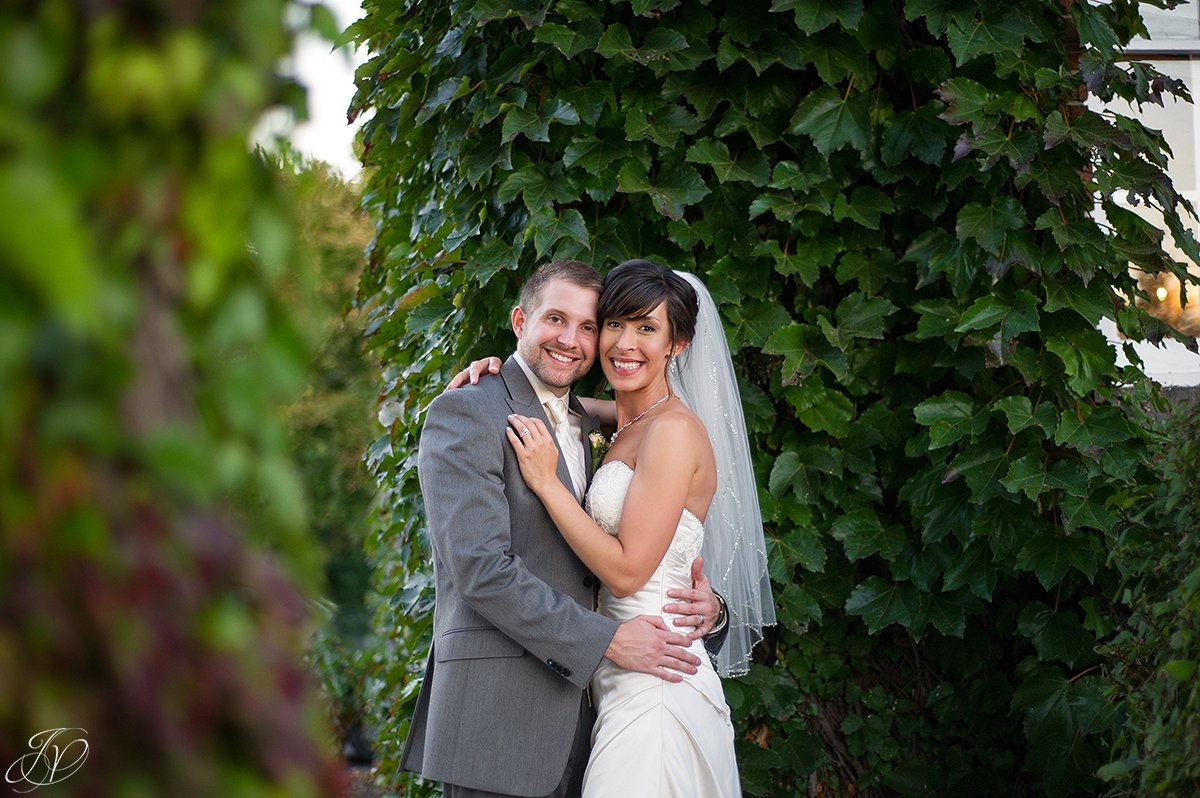 romantic fall bride and groom portrait
