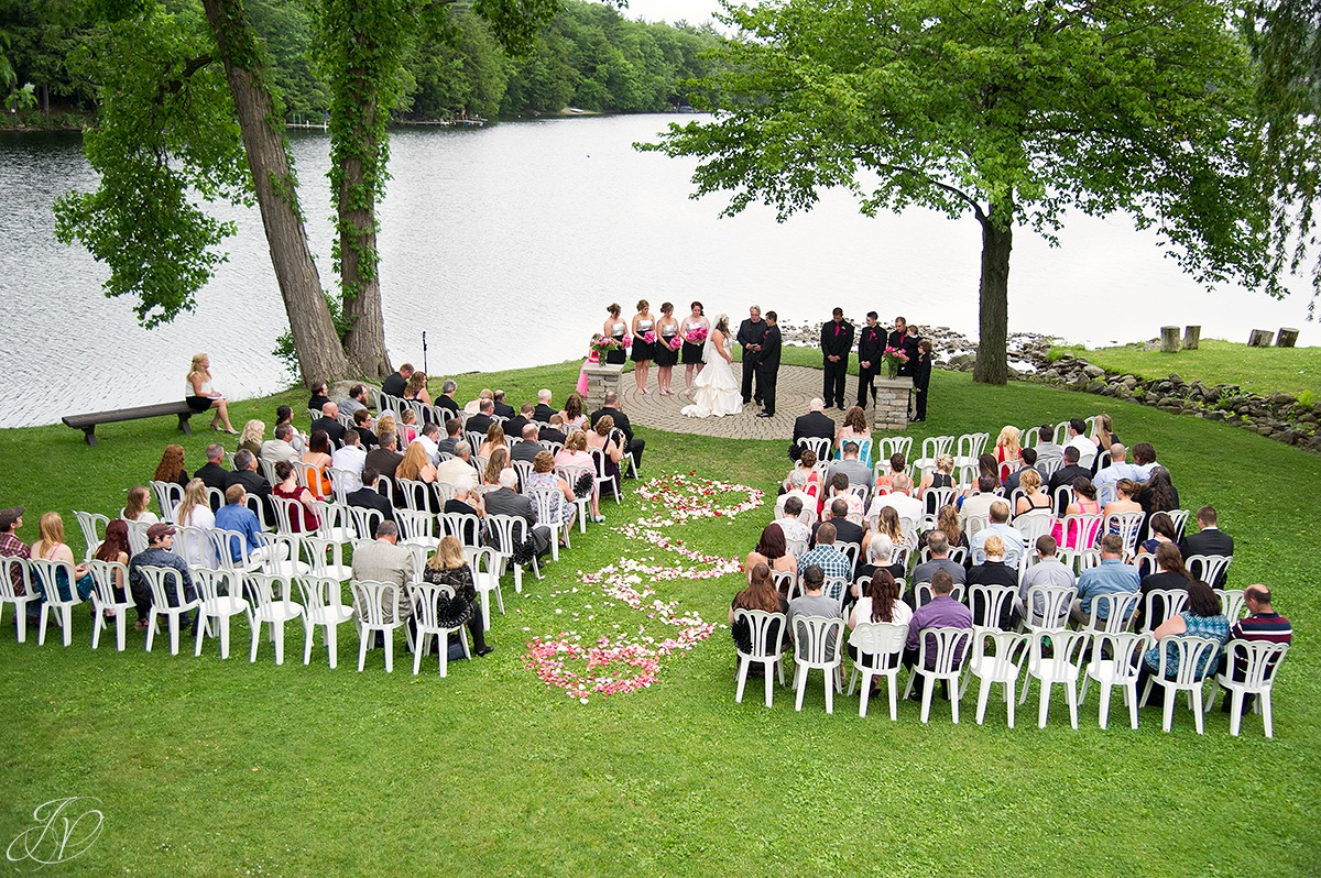 aerial view of wedding ceremony on crooked lake in averill park