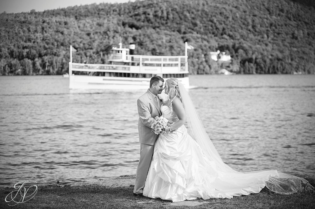 bride and groom in front of lake george, Inn at Erlowest wedding, Inn at Erlowest reception, Lake George Wedding Photographer