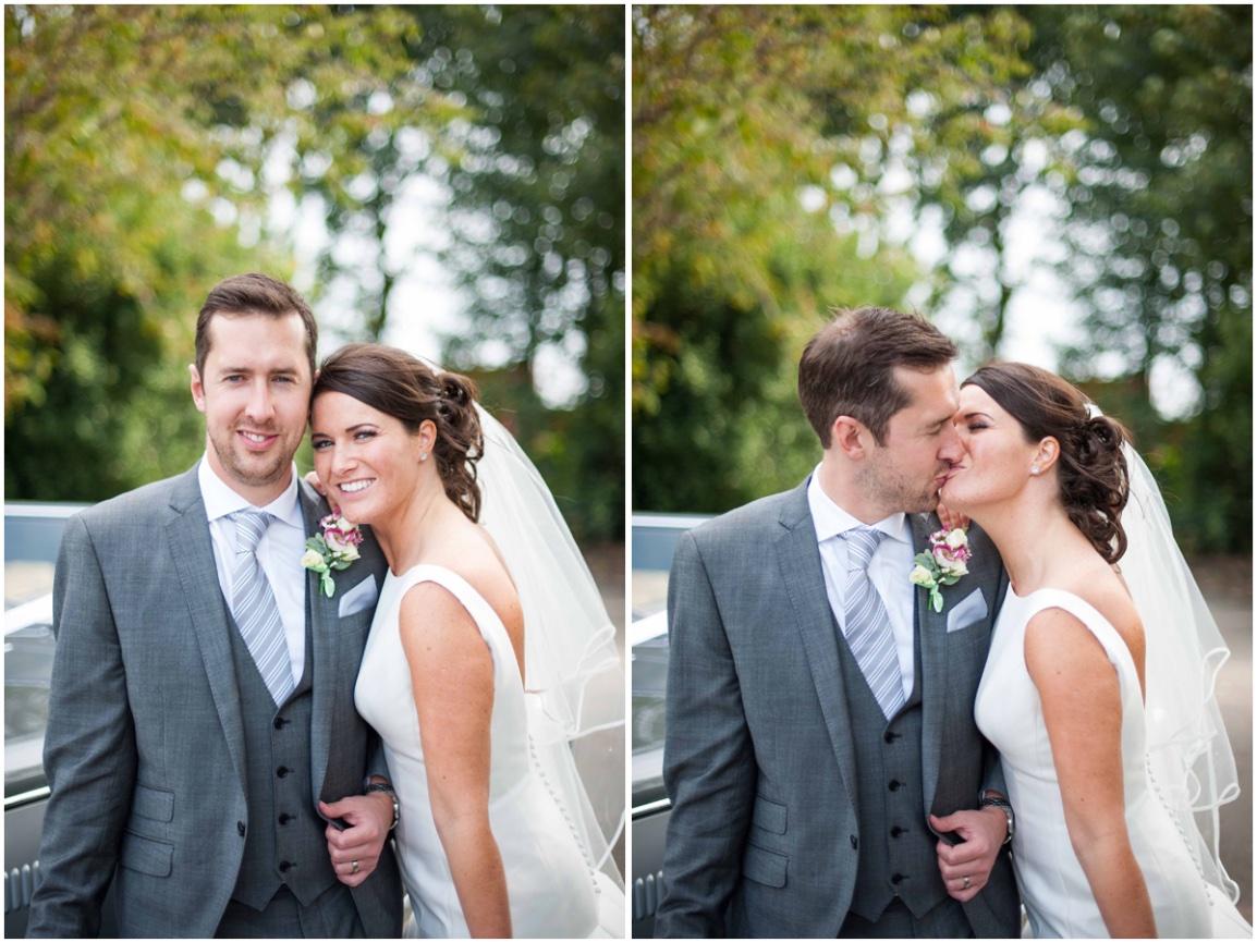 three querter length shot of bride and groom