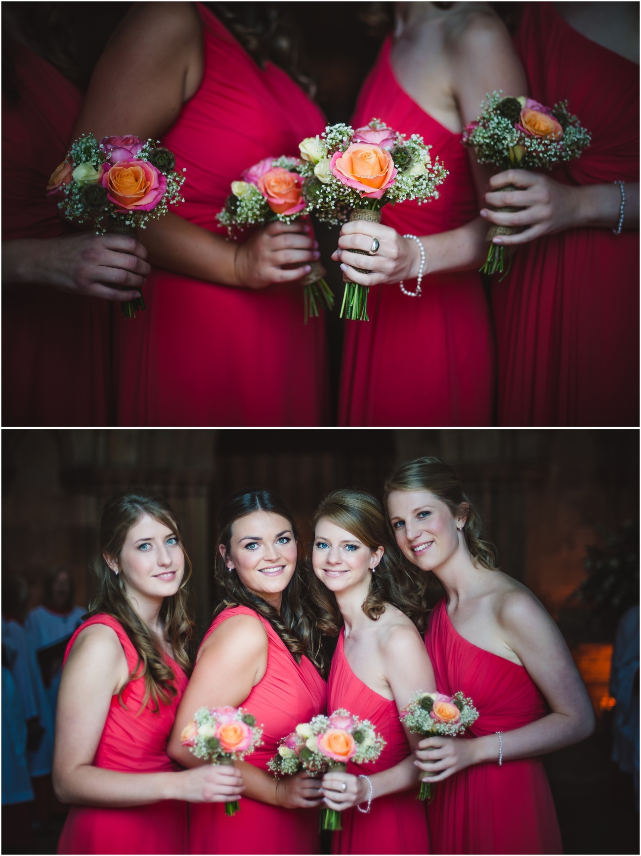four bridesmaids with their gorgeous flowers bouquets