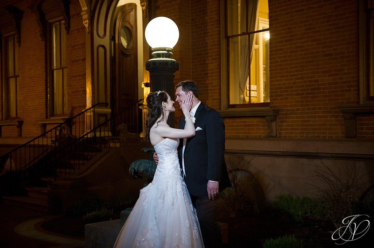 bride and groom night photos, bride and groom night shots, Saratoga Wedding Photographer, The Canfield Casino wedding