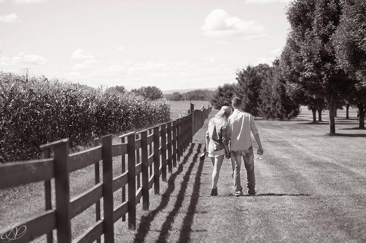 romantic black and white engagement photo