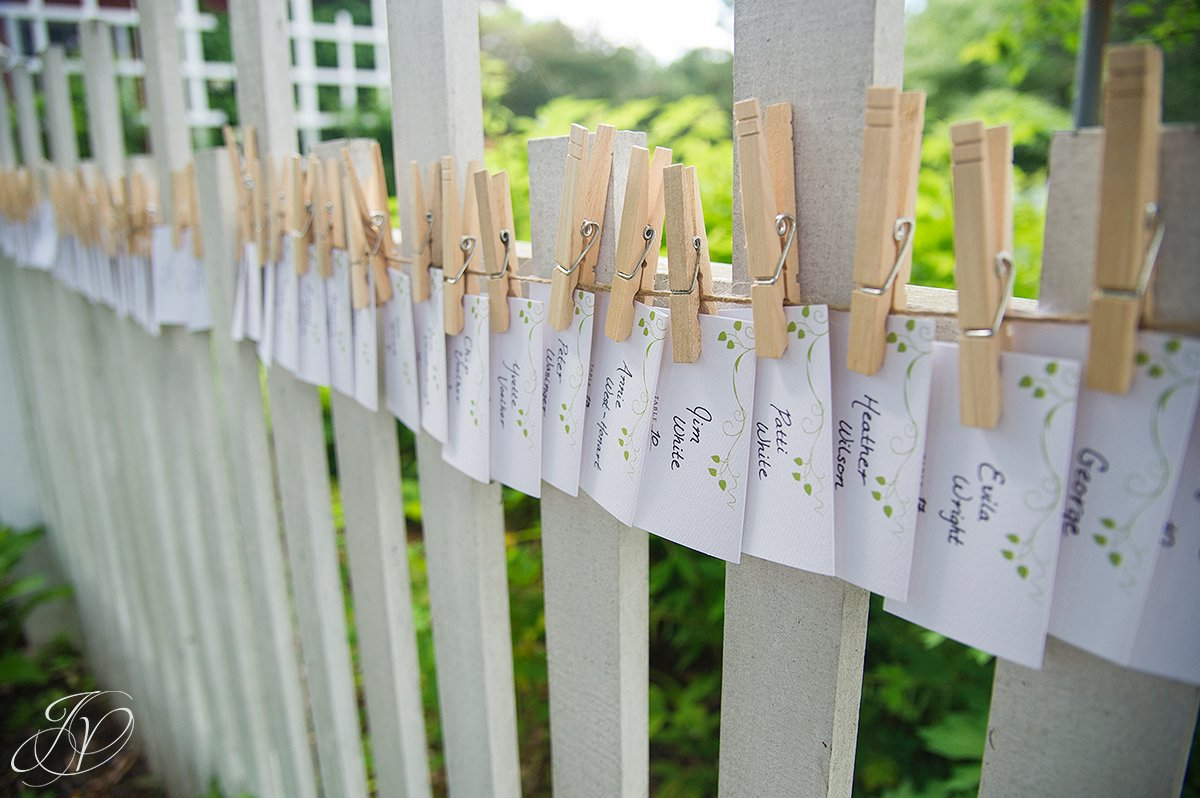 reception place card detail photos, place cards on fence photo, pruyn house wedding, albany wedding photography