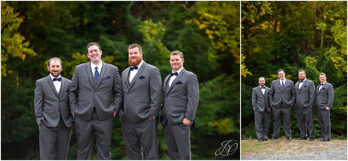 groomsmen in grey groomsmen bowties