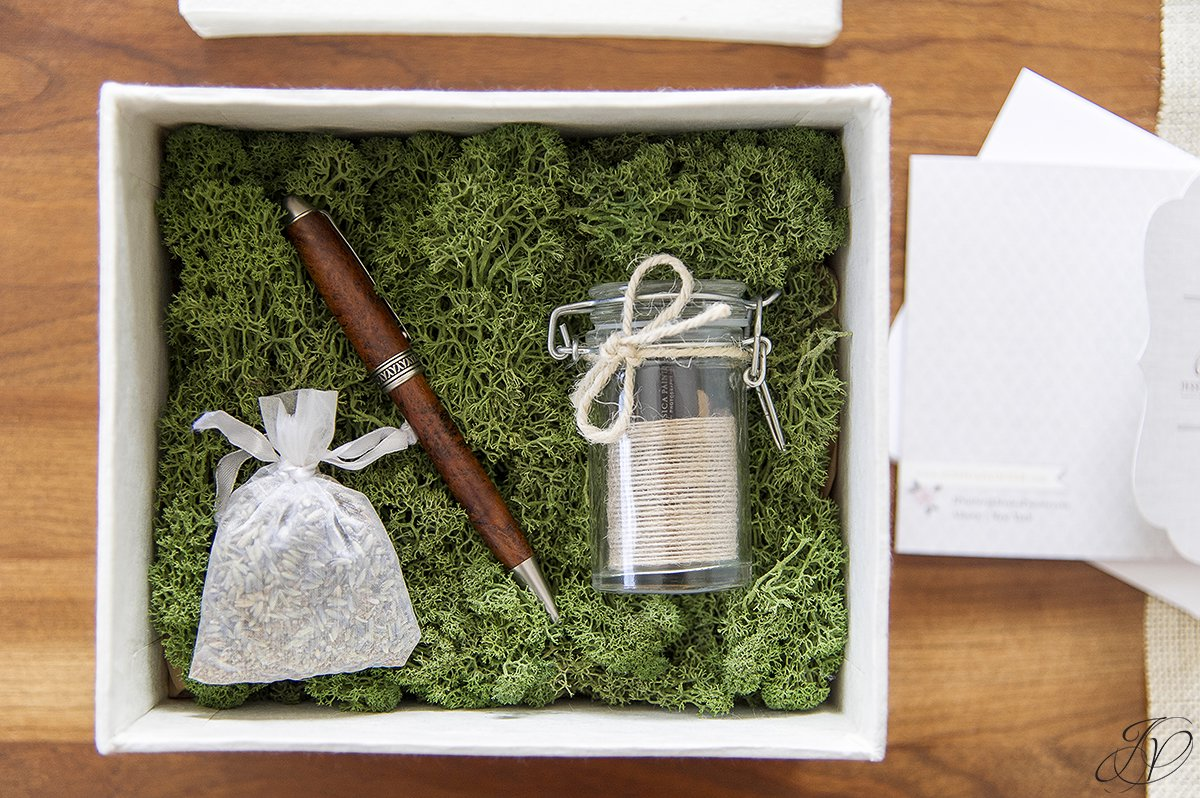 loktah box with lavender pen and mason jar, usb drive in mason jar, custom wedding packaging, personalized wedding photography packaging, unique wedding photography packaging