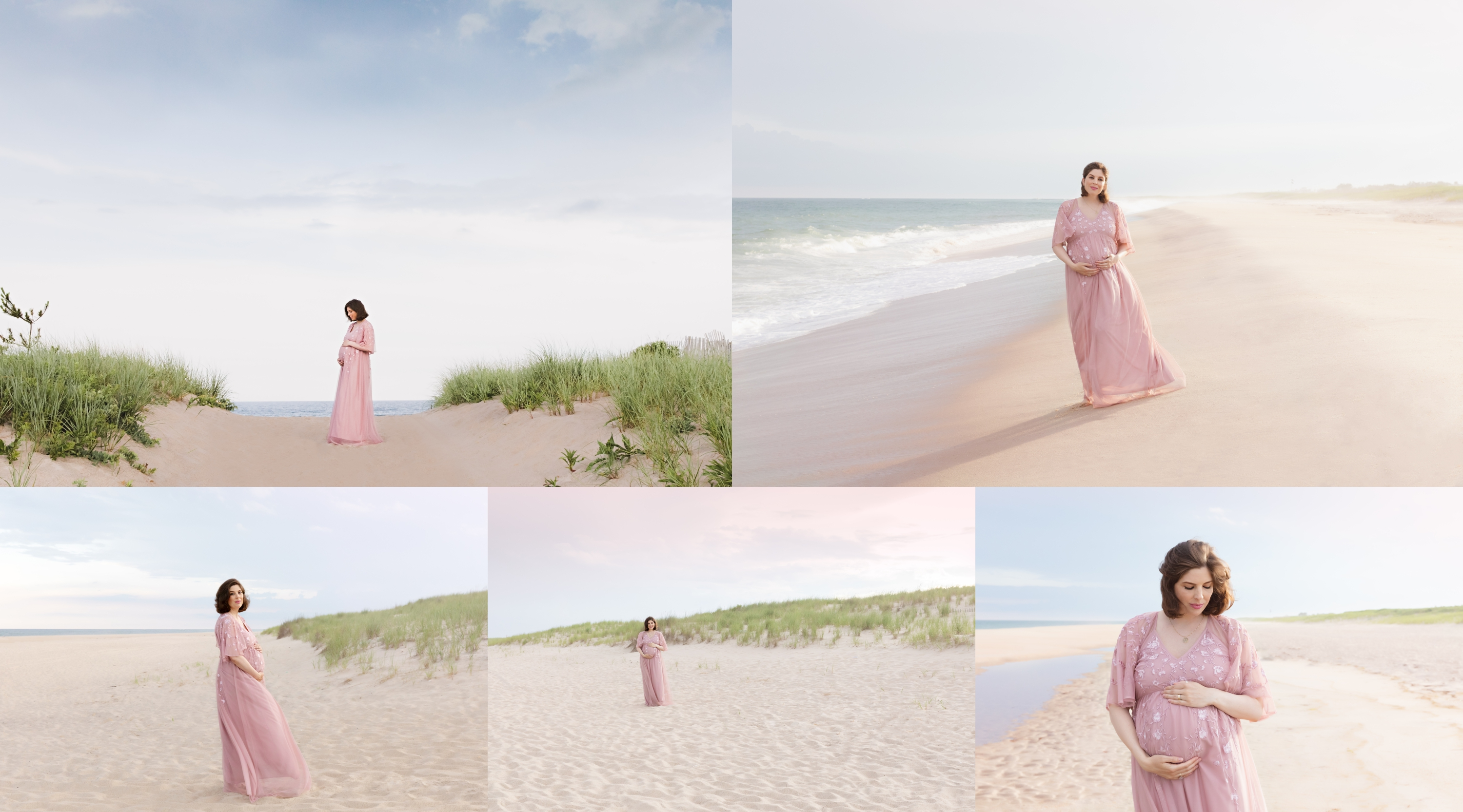 Beach maternity photoshoot of pregnant mom in a flowy dress in the Hamptons