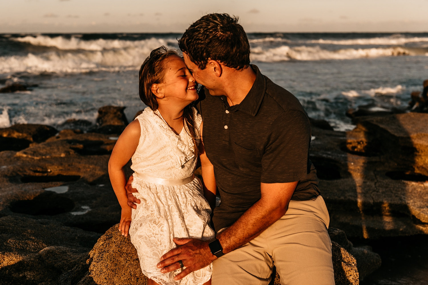 father touching noses with his little girl, father daughter portraits, Rya Duncklee Photography