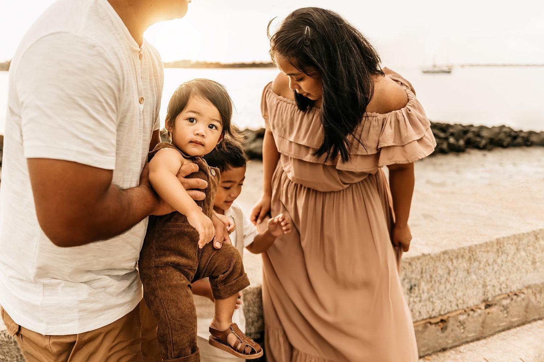 family of four at sunrise, Saint Augustine, Florida family photographer
