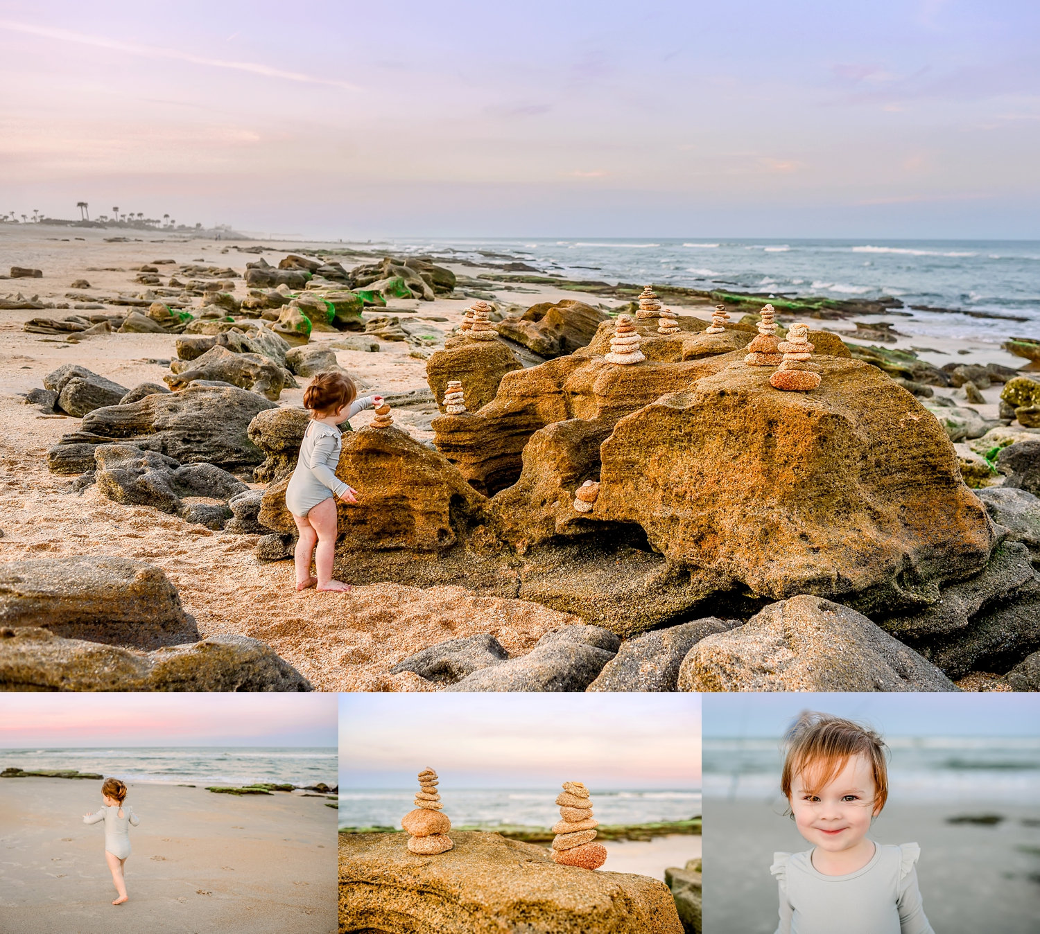 little girl balancing rocks on the beach, photo collage of Florida, Ryaphotos